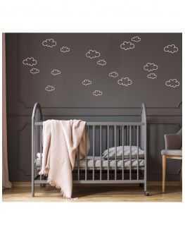 Stickers nuages contours argent et rose poudré