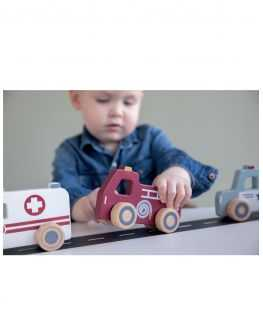 Set 3 véhicules urgences en bois