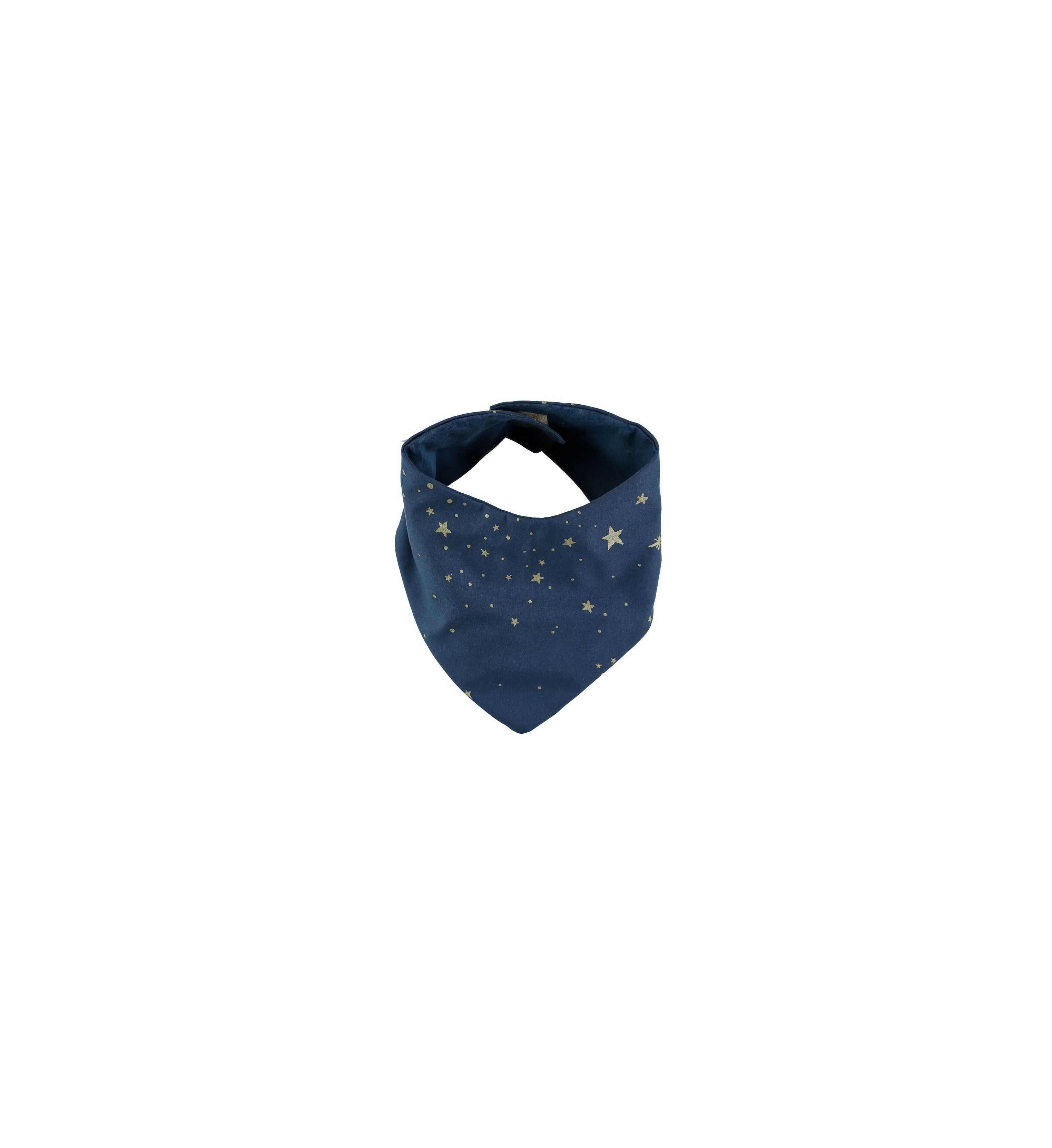 Bavoir bandana bleu étoiles dorées