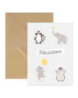 Carte double Félicitations animaux enveloppe kraft