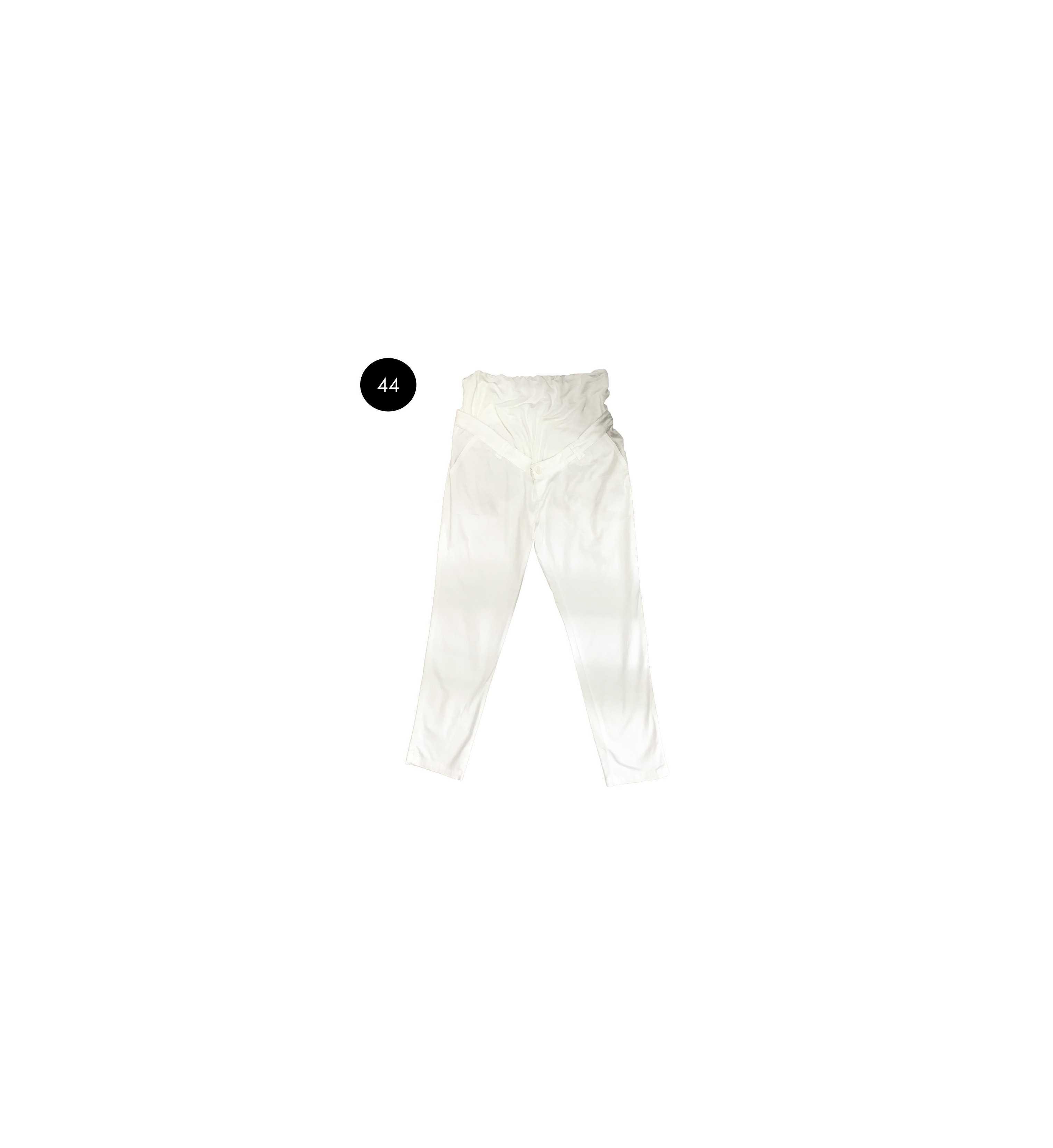 Pantalon grossesse blanc en coton sergé