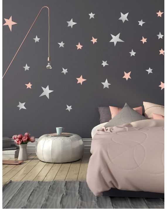 Stickers étoiles argent et rose poudré