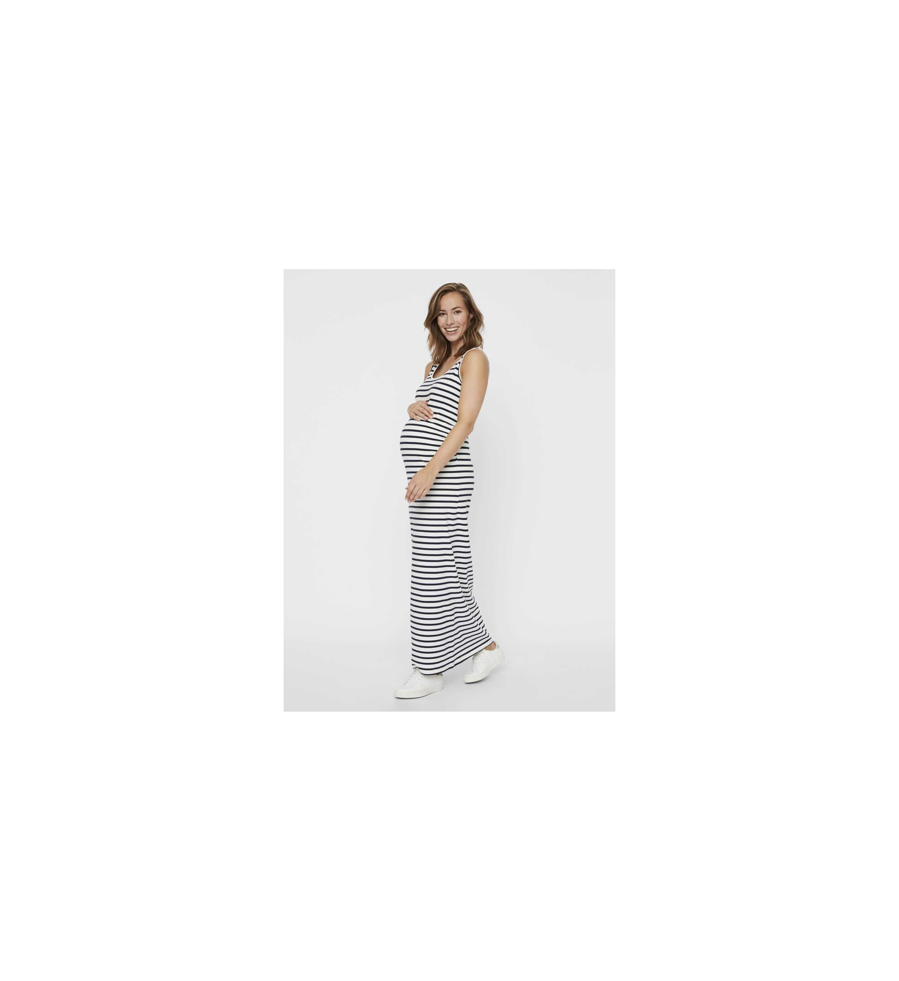 Maxi robe femme enceinte rayures marine Léa